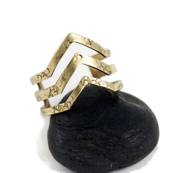 Chevron Ring Adjustable Brass Ring Triple Chevron Style