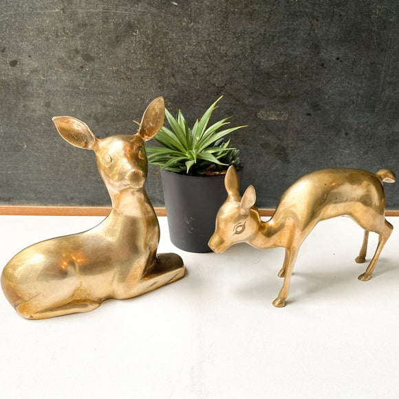 Large Brass Deer Pair, Doe and Fawn