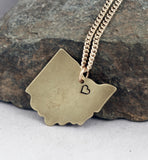 I Love Cleveland Ohio Gold (Brass) Necklace