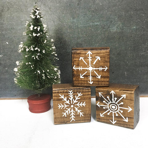 Rustic Wood Snowflake Blocks, Hand Painted Winter Decor