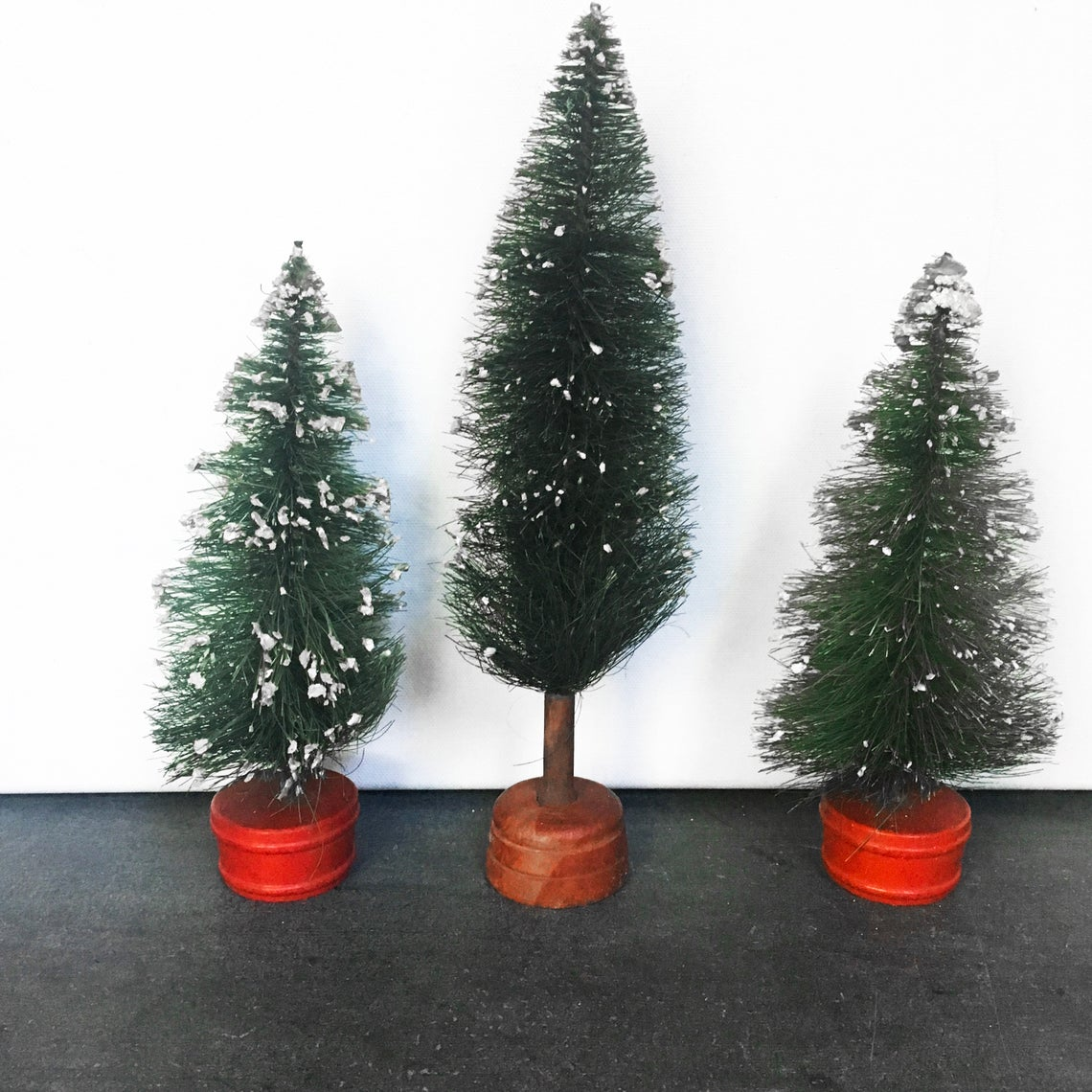 Mid Century Bottlebrush Tree Set, Vintage Christmas Decor
