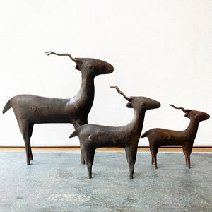Vintage Metal Antelope Sculptures, Rustic Trio of 3