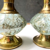 Brass and Delft Porcelain Vase Pair