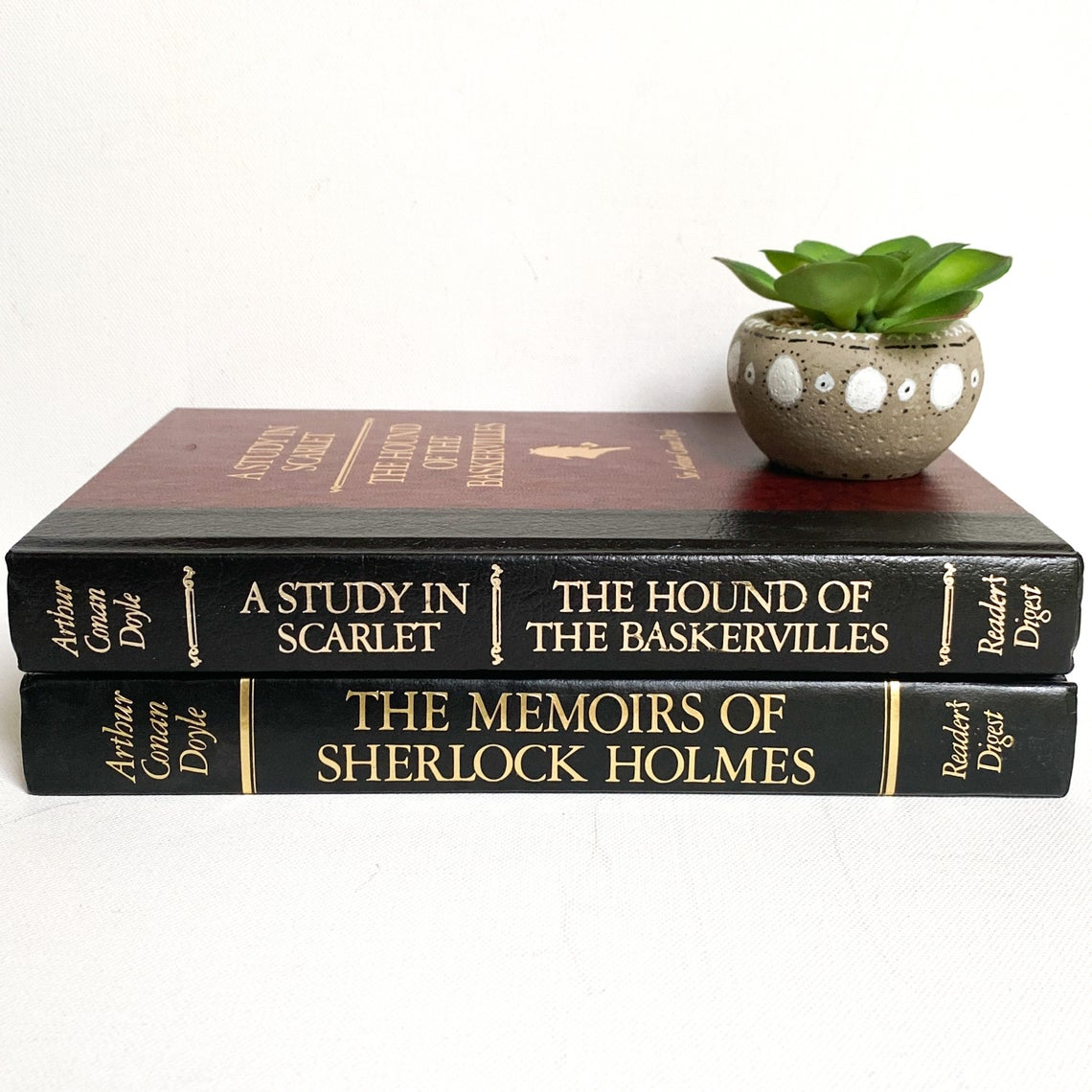 Vintage Sherlock Holmes Book Set, The Hound of Baskervilles, A Study in Scarlet The Memoirs of Sherlock Holmes, both by Sir Arthur Conan Doyle