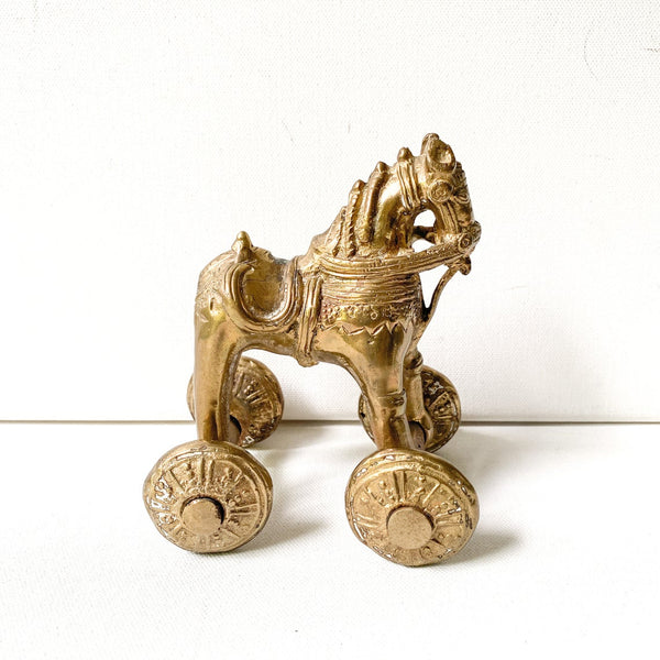 Vintage Brass Horse on Wheels, India Temple Toy, Trojan Horse Style