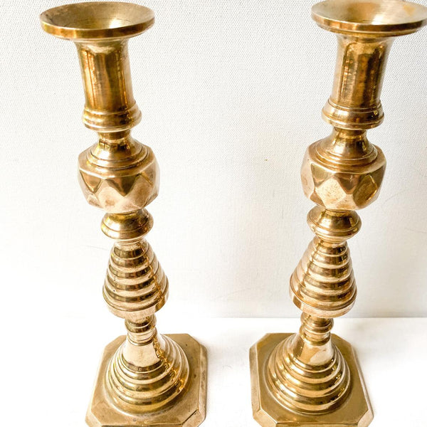 Large Vintage Geometric Candle Holders