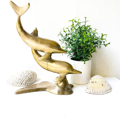 Vintage Brass Dolphins Statue