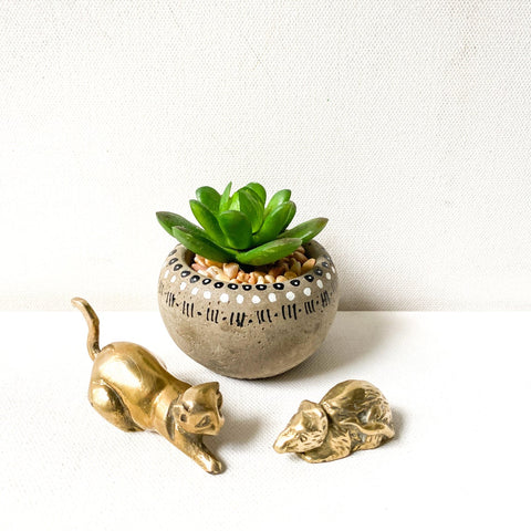 Small Vintage Brass Cat and Mouse Figurines