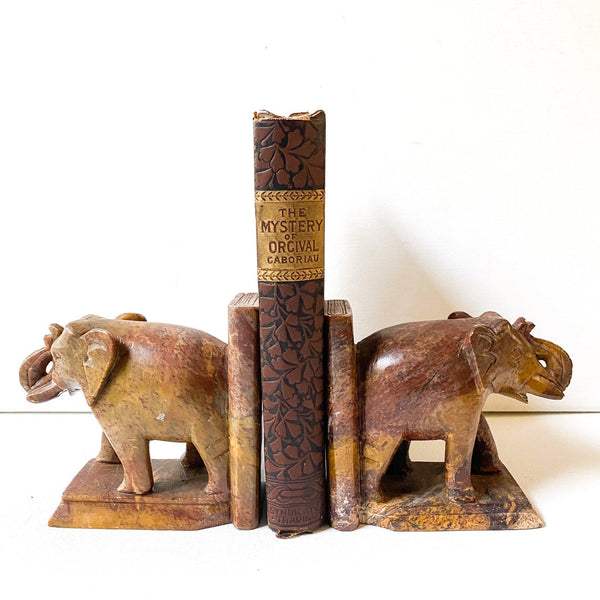 Vintage Marble Stone Elephant Bookends