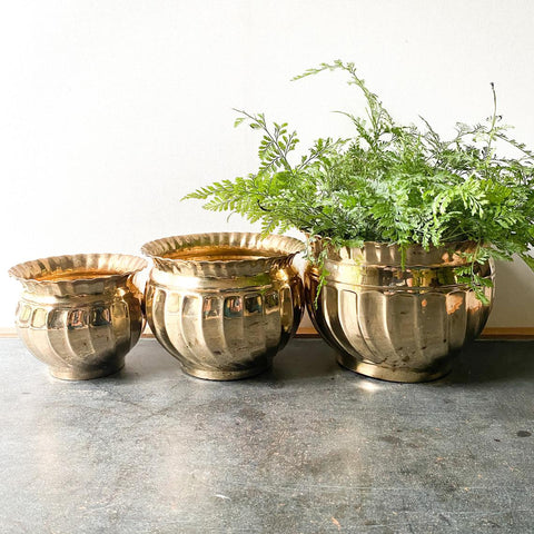Vintage Brass Planter Set of 3