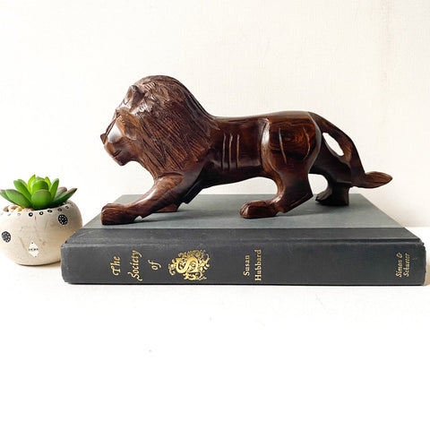 Vintage Ironwood Lion Sculpture