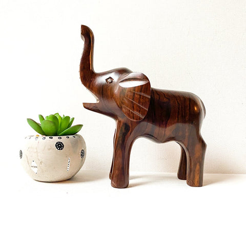 Vintage Ironwood Elephant Sculpture