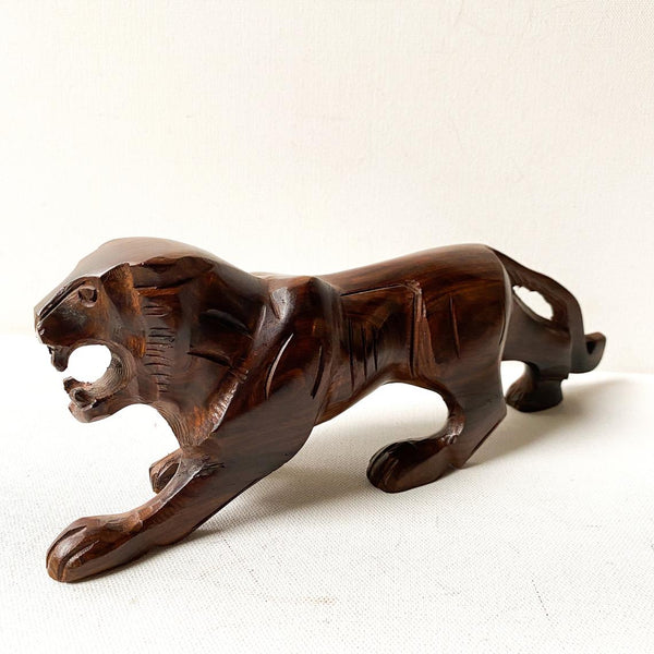 Vintage Ironwood Tiger Sculpture
