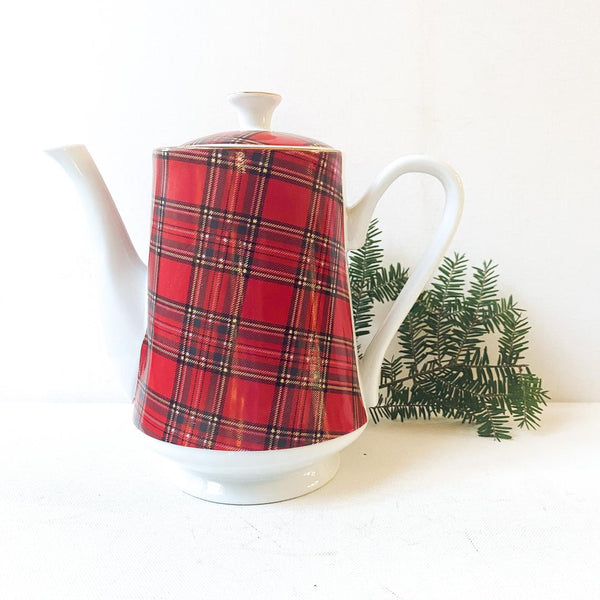 Vintage Red Tartan Teapot, Red Plaid by Pacific Rim