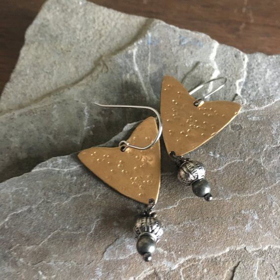 Hammered Brass and Mixed Metal Arrow Drop Earrings