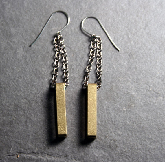 Geometric Rectangle Dangle Earrings in Brass