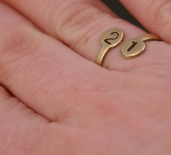 Number Ring Adjustable Brass Personalized Ring