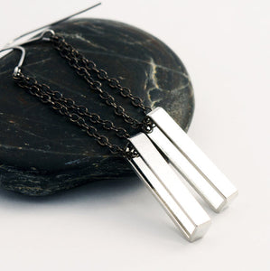 Geometric Rectangle Dangle Earrings (Silver)