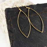 Gold Brass Marquise Earrings