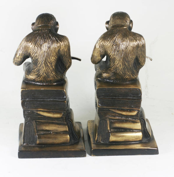 Vintage Monkey Bookends, Brass / Bronze Chimpanzee, Library Decor
