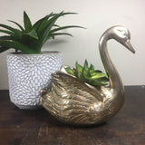Vintage Brass Swan Planter / Container