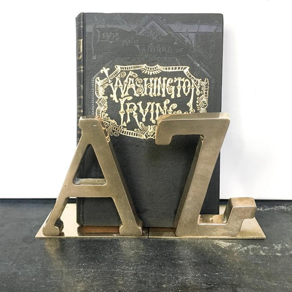 Vintage Brass A to Z bookends, alphabet letter book ends