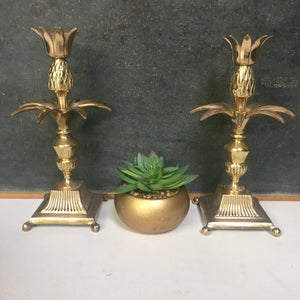 Vintage Brass Pineapple Candlesticks