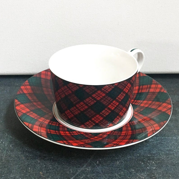 Arita Tartan Tea Cup and Saucer China Set