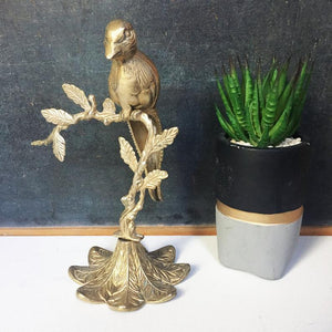 Brass Bird on Perch, Victorian Style Sculpture