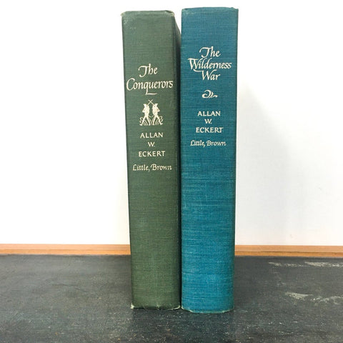 Allan W Eckert Set of 2 Vintage Books, The Conquerors, The Wilderness War, First Edition
