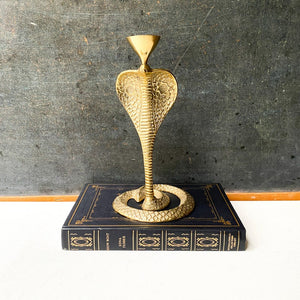 Brass Cobra Candle Holder, vintage brass snake