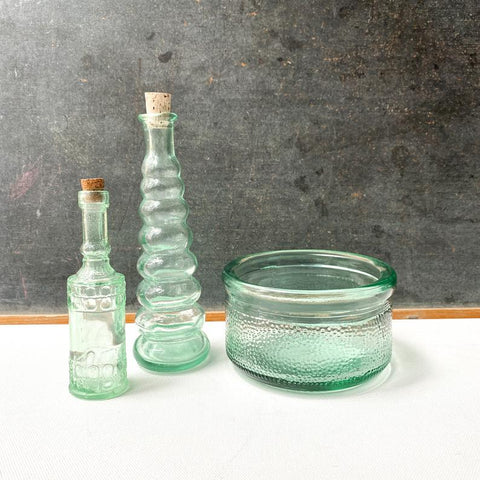 Aqua Glass Bottles, Vintage Turquoise Glass Collection