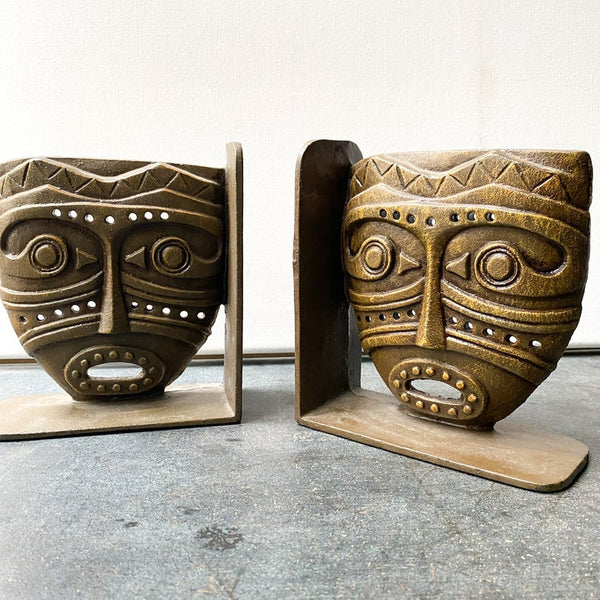 Vintage Cast Iron Tiki Bookends, Tiki Decor, Global Style, Adventure Decor