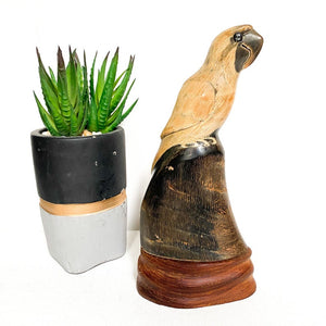 Hand carved buffalo horn vintage parrot