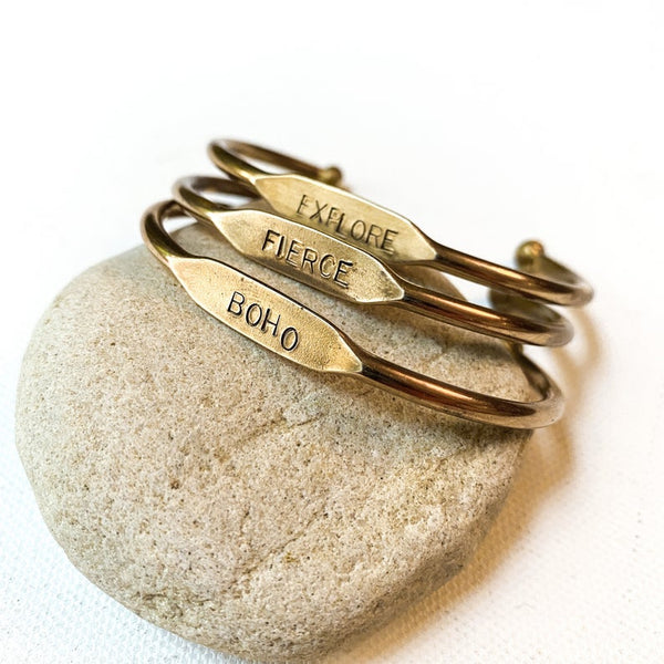 Stamped Word Cuff Bracelet, Choose your favorite affirmation