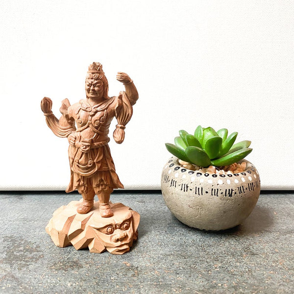 Vintage Carved Buddhist Guardian Figurine, Asian Sculpture