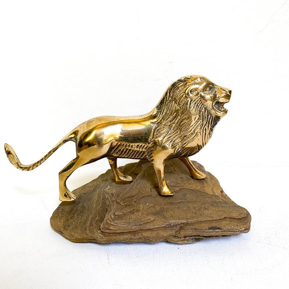 Vintage Brass Lion Sculpture