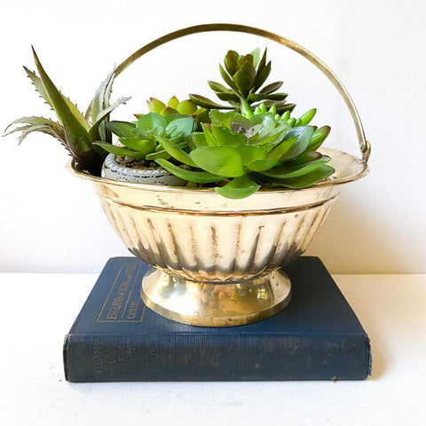 Vintage Brass Basket, Plant Holder, Decorative Bowl
