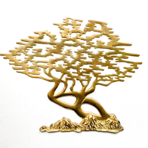 Vintage Brass Bonsai Tree Wall Hanging