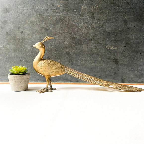 Large Vintage Brass Peacock, Hollywood Regency Style