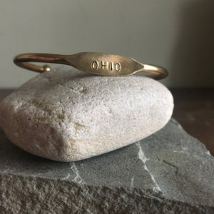 Ohio Bracelet Stamped Brass Cuff