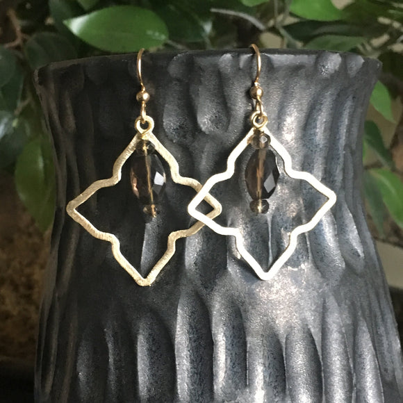 Smoky Quartz Glam Boho Dangle Earrings