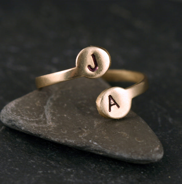 Initial Ring, Adjustable brass ring with Minimalist Style