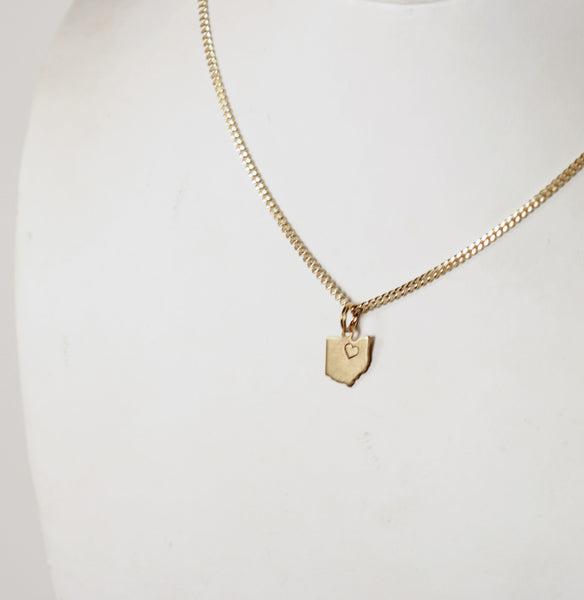 Small Gold Ohio Charm Necklace
