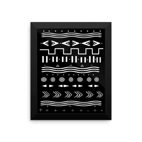 Framed Geometric Mud Cloth Inspired Wall Art, Black with white print
