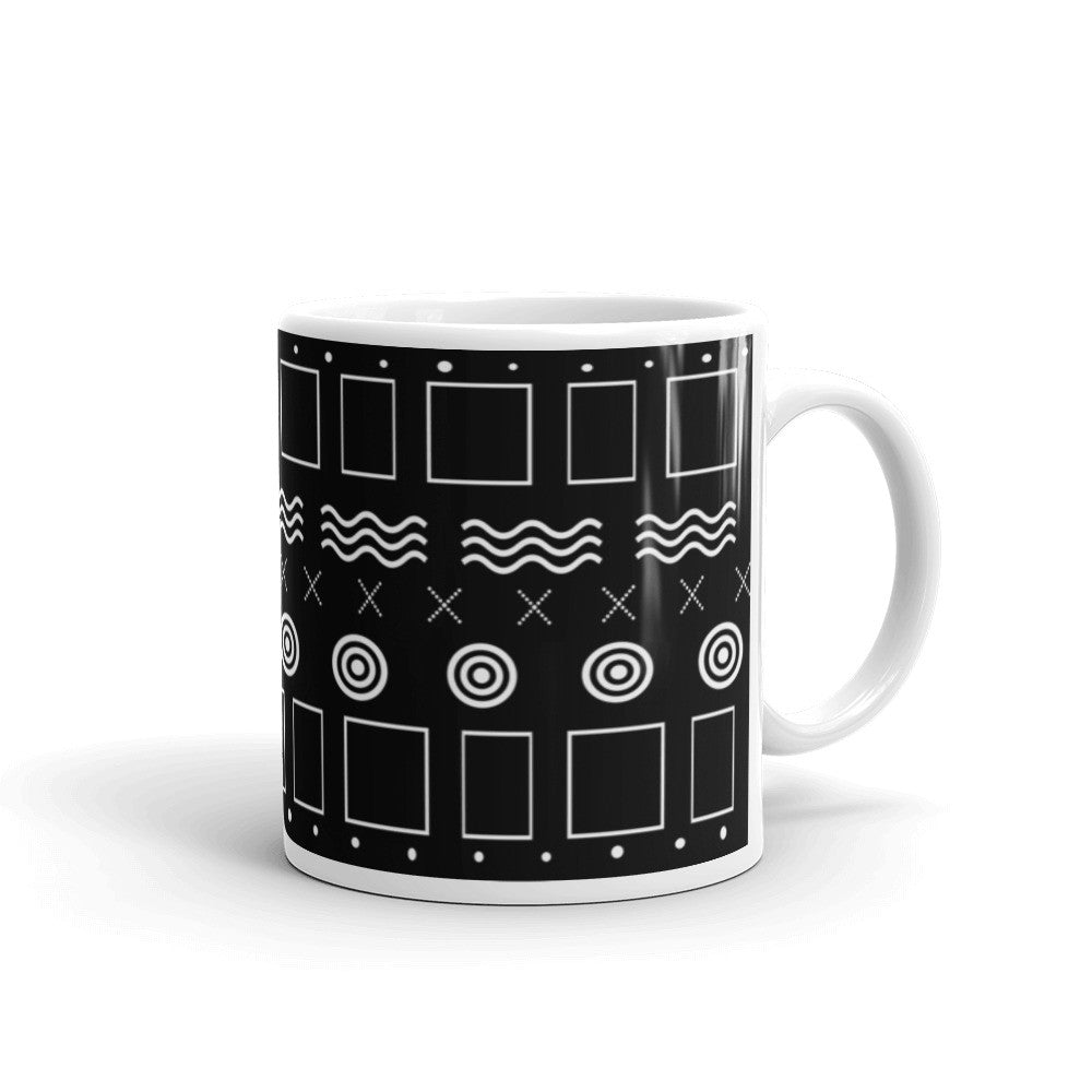 Geometric Mudcloth Inspired Mug - Black