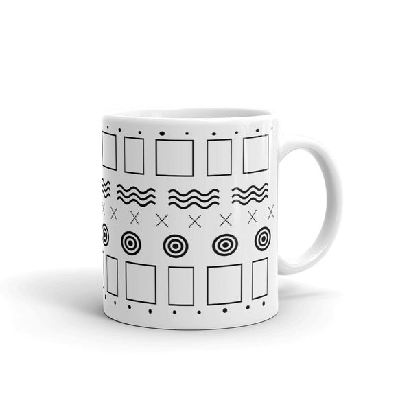 Geometric Mudcloth Inspired Mug - White
