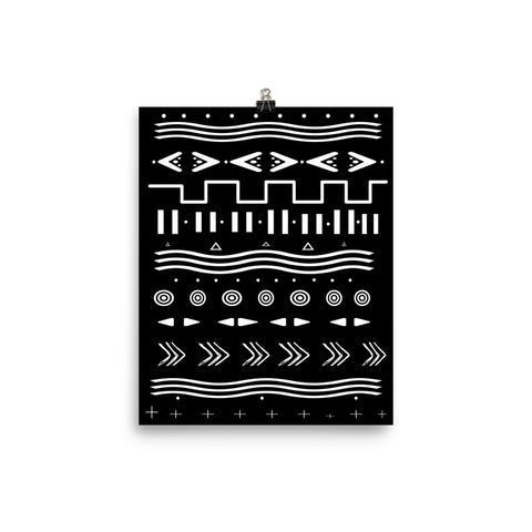 Geometric Wall Art, mud cloth inspired print, black and white