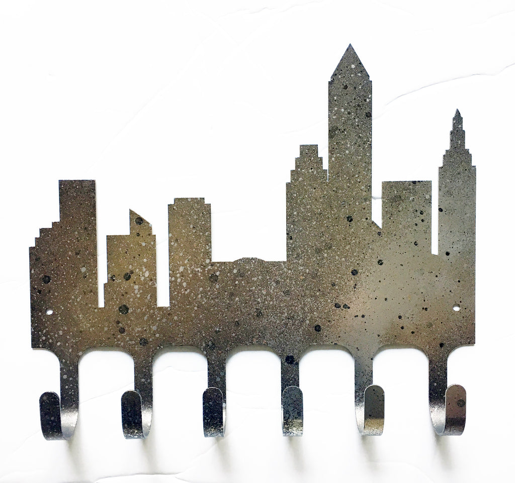 RESERVED Hand Painted Cleveland Skyline Rack / Medal Holder