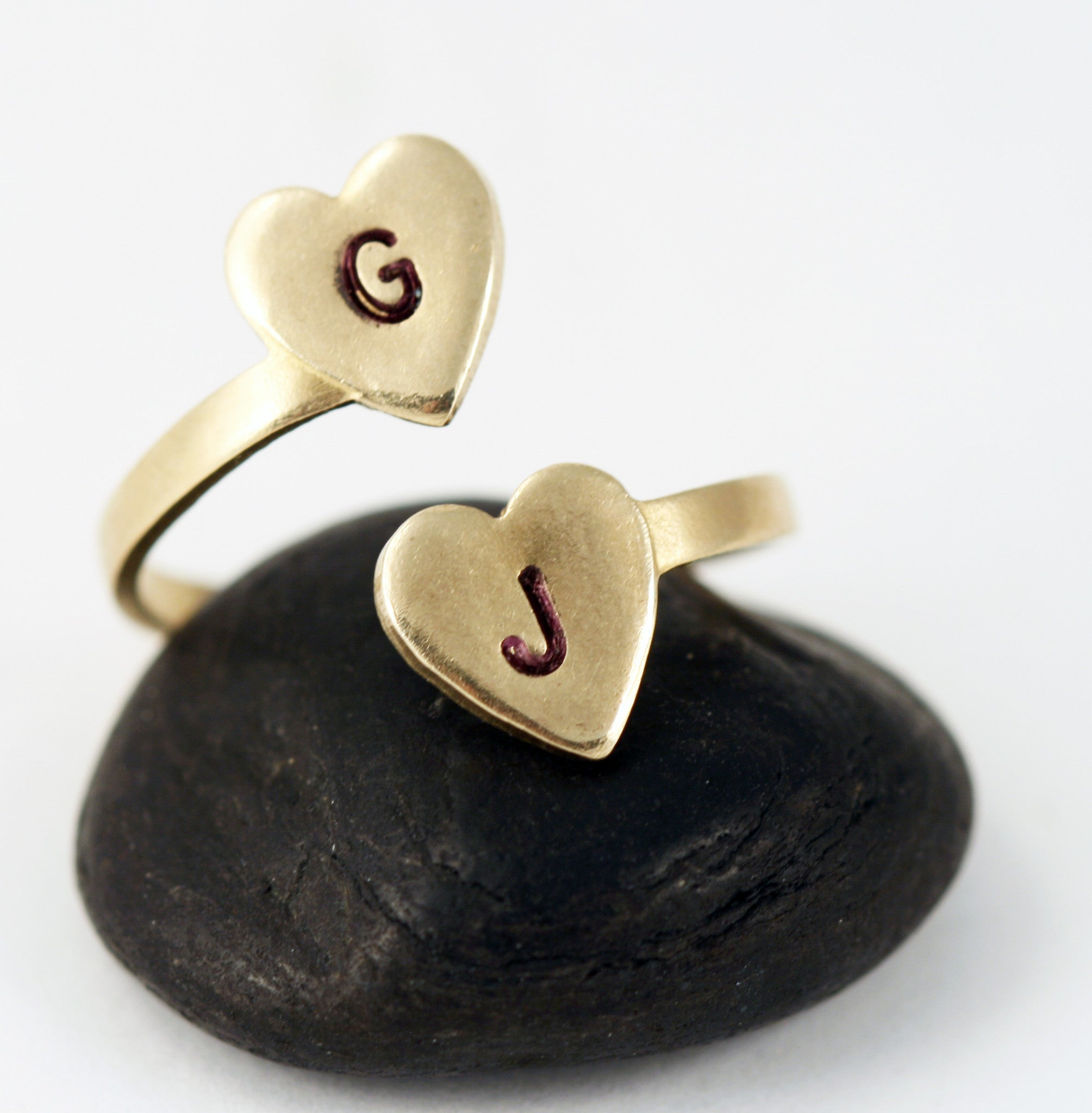 Personalized Two Heart Initial Ring - Adjustable Ring